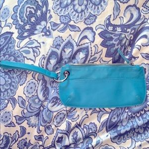 Blue leather wristlet by Old Navy. EUC